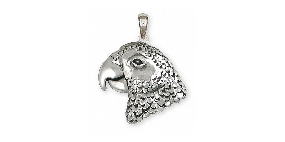 African Grey Charms African Grey Pendant Sterling Silver Parrot Jewelry African Grey jewelry