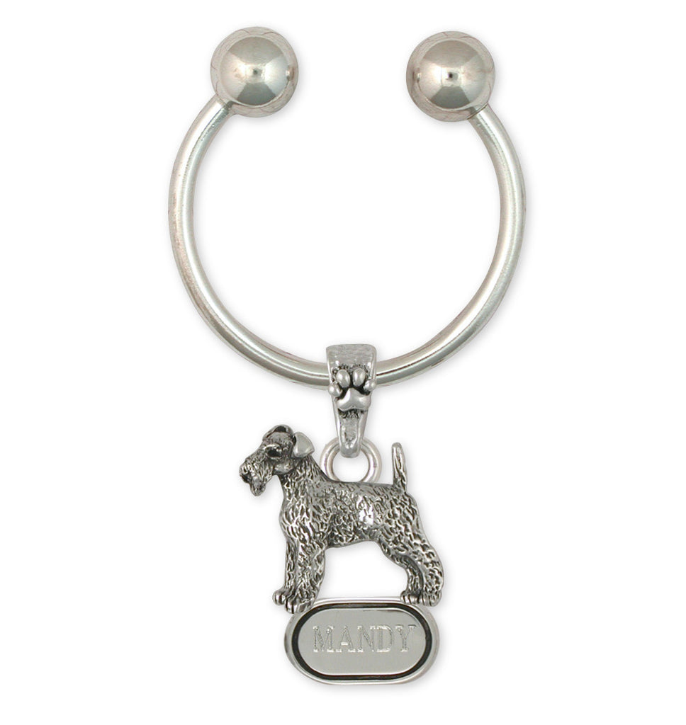 Airedale Terrier Charms Airedale Terrier Key Ring Sterling Silver Dog Jewelry Airedale Terrier jewelry