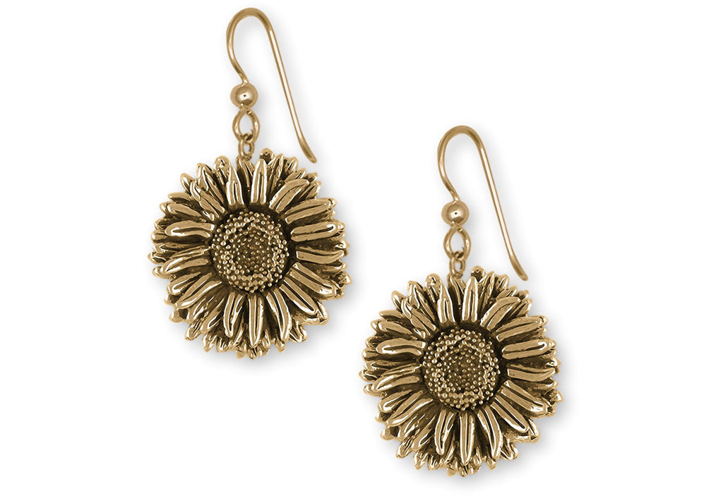 Aster Charms Aster Earrings 14k Yellow Gold Aster Flower Jewelry Aster jewelry