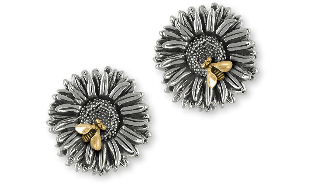 Aster Jewelry Silver And 14k Gold Handmade Aster Flower Cufflinks  AST2-BEECL