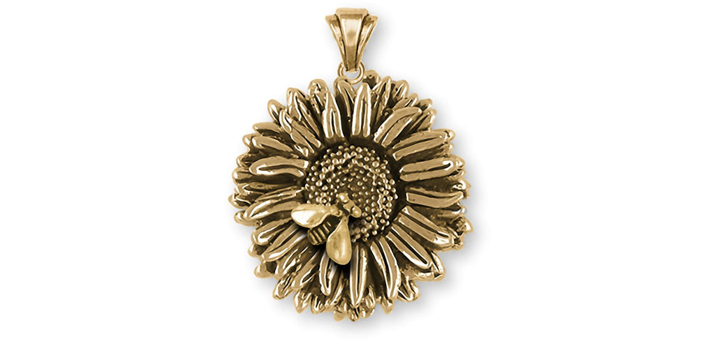 Aster Charms Aster Pendant 14k Yellow Gold Aster Flower Jewelry Aster jewelry