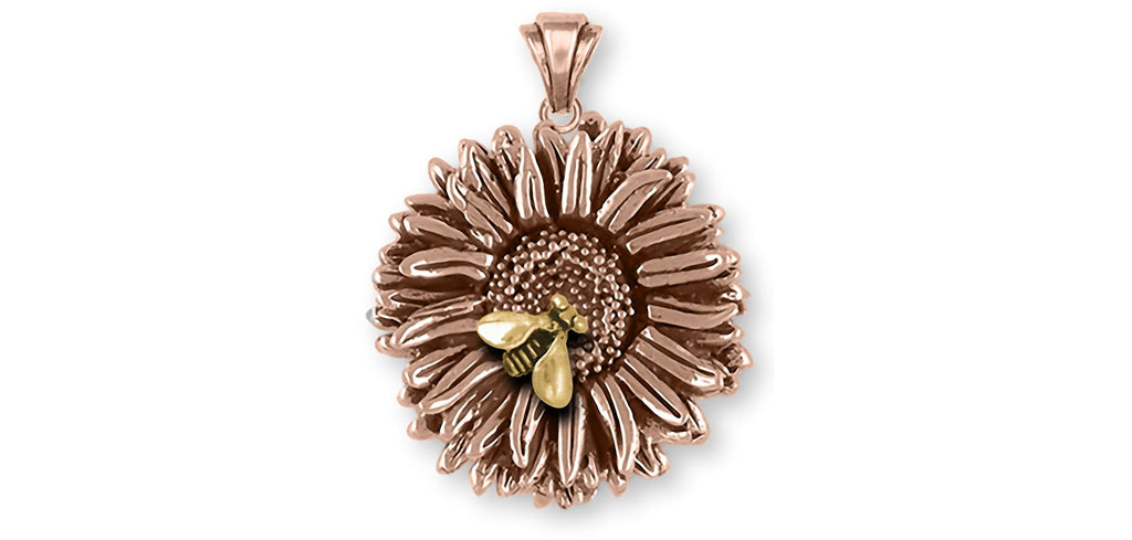 Aster Charms Aster Pendant 14k Rose Gold Aster Flower Jewelry Aster jewelry
