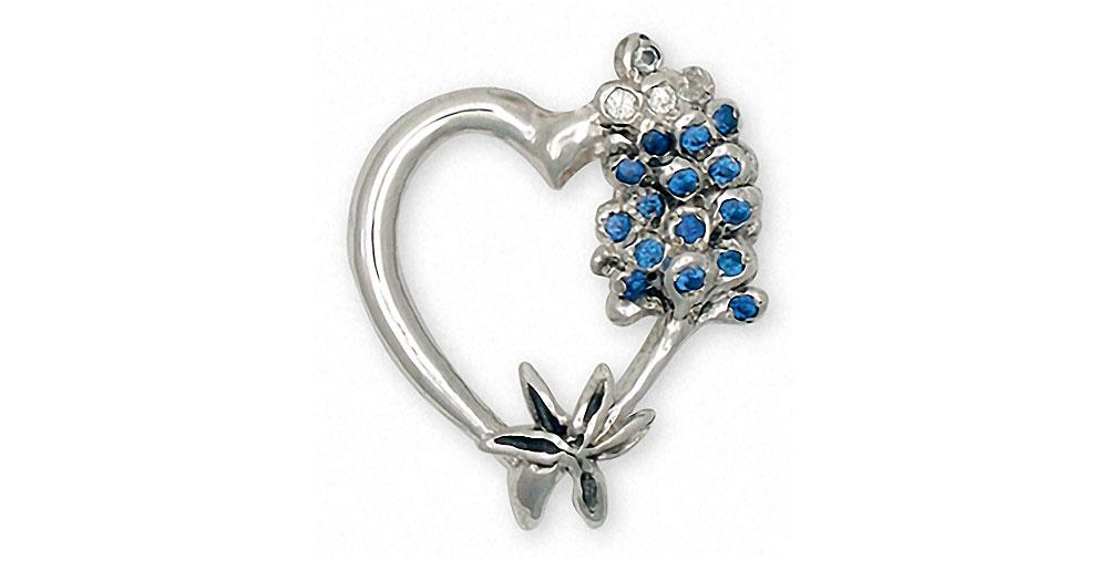 Bluebonnet Charms Bluebonnet Brooch Pin Sterling Silver Texas Wildflower Jewelry Bluebonnet jewelry