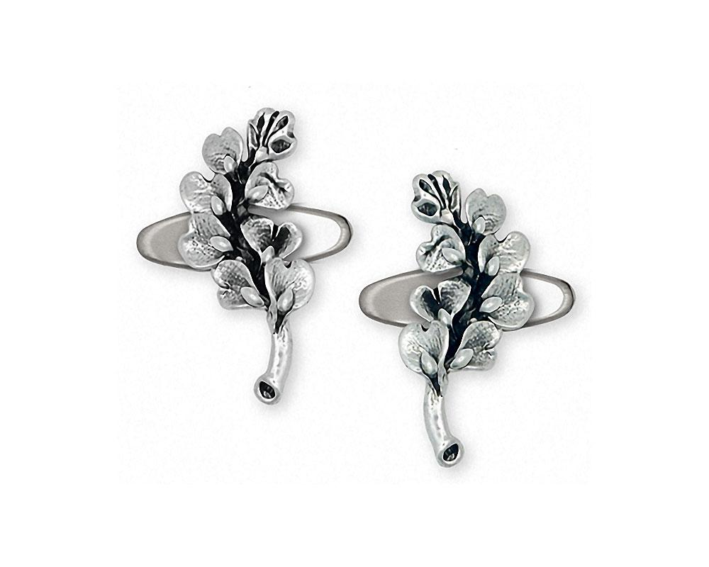 Bluebonnet Charms Bluebonnet Cufflinks Sterling Silver Texas Wildflower Jewelry Bluebonnet jewelry