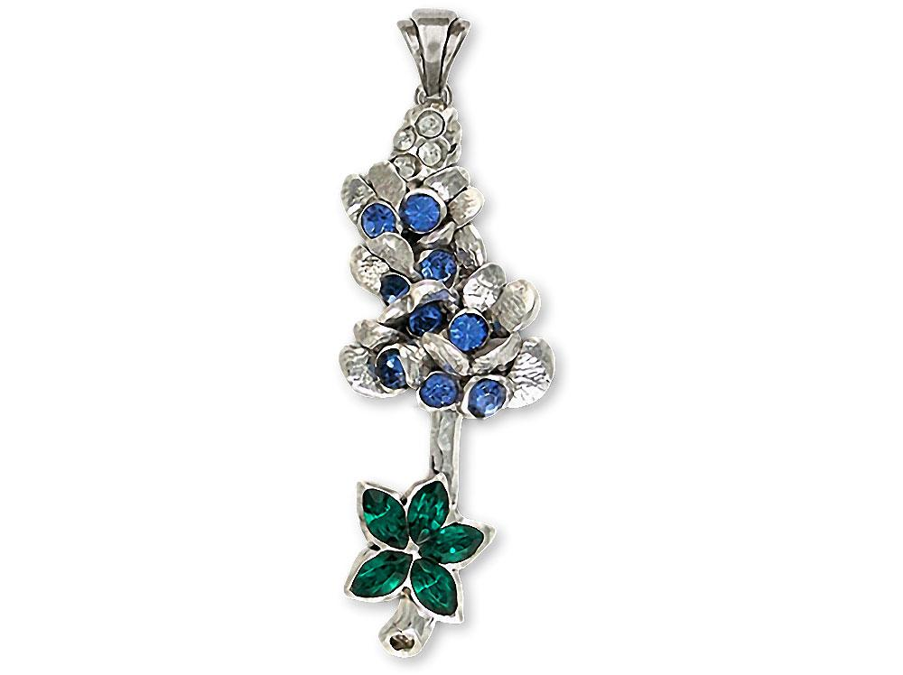Bluebonnet Charms Bluebonnet Pendant Sterling Silver Texas Wildflower Jewelry Bluebonnet jewelry