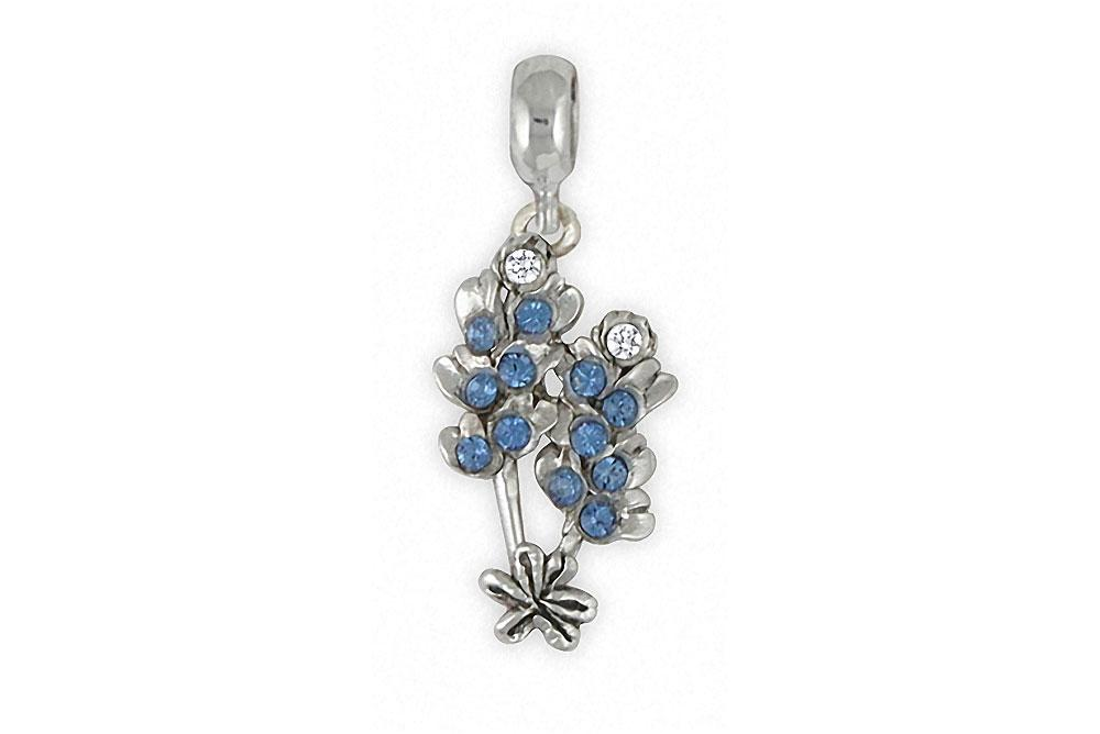 Bluebonnet Charms Bluebonnet Charm Slide Sterling Silver Texas Wildflower Jewelry Bluebonnet jewelry