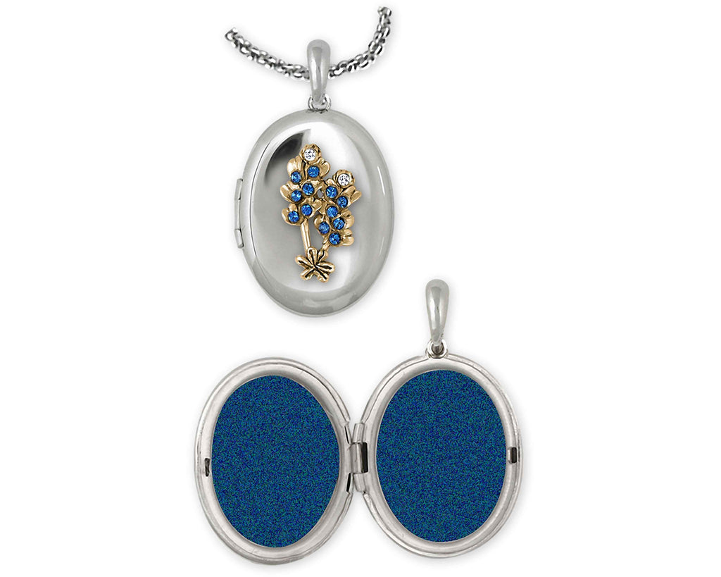 Bluebonnet Charms Bluebonnet Photo Locket Silver And 14k Gold Bluebonnet Flower Jewelry Bluebonnet jewelry