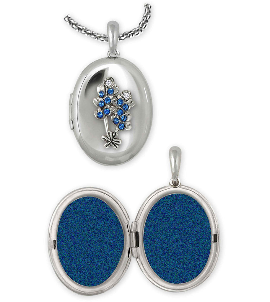 Bluebonnet Charms Bluebonnet Photo Locket Sterling Silver Bluebonnet Flower Jewelry Bluebonnet jewelry