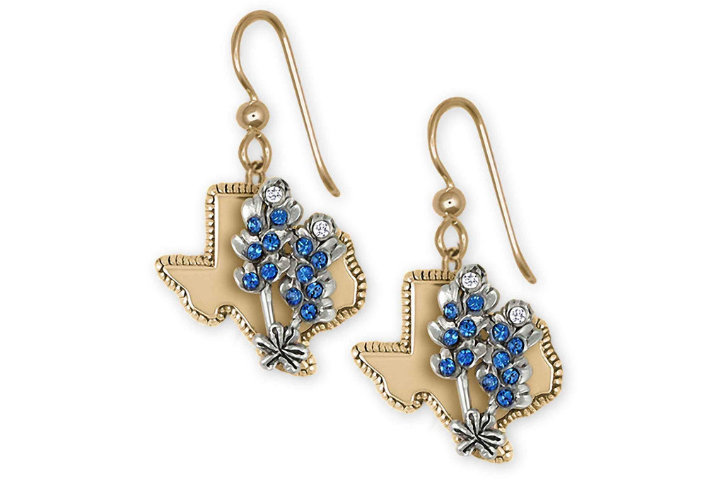Bluebonnet Charms Bluebonnet Earrings 14k White And Yellow Gold Bluebonnet Flower Jewelry Bluebonnet jewelry