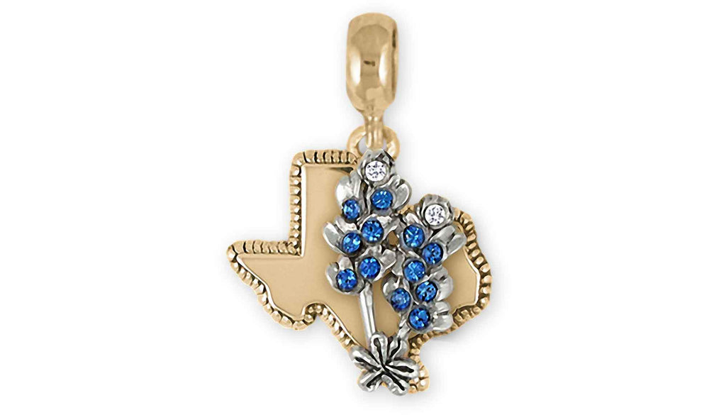 Bluebonnet Charms Bluebonnet Charm Slide 14k White And Yellow Gold Bluebonnet Flower Jewelry Bluebonnet jewelry