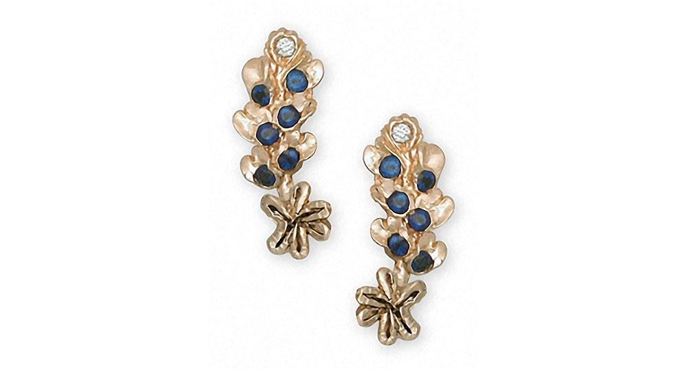 Bluebonnet Charms Bluebonnet Earrings 14k Gold Texas Wildflower Jewelry Bluebonnet jewelry
