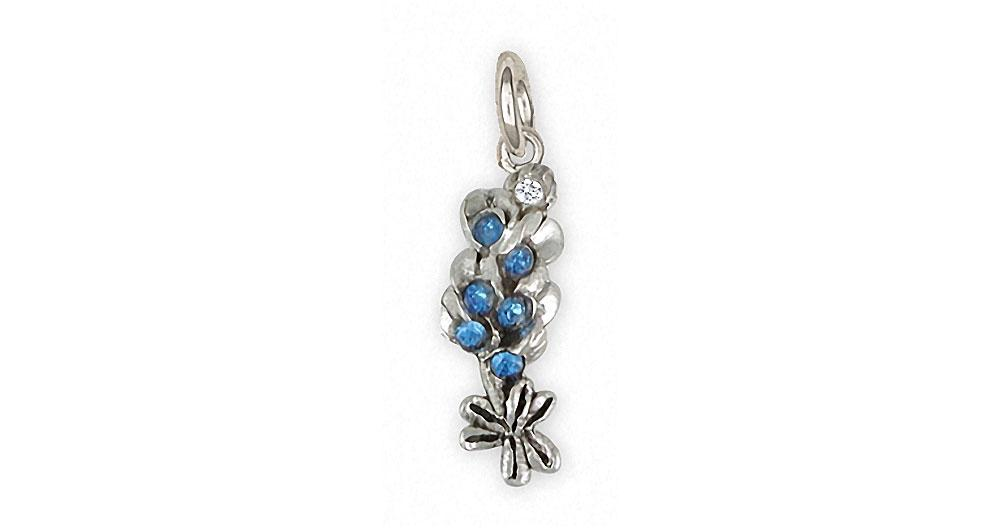 Bluebonnet Charms Bluebonnet Charm Sterling Silver Texas Wildflower Jewelry Bluebonnet jewelry