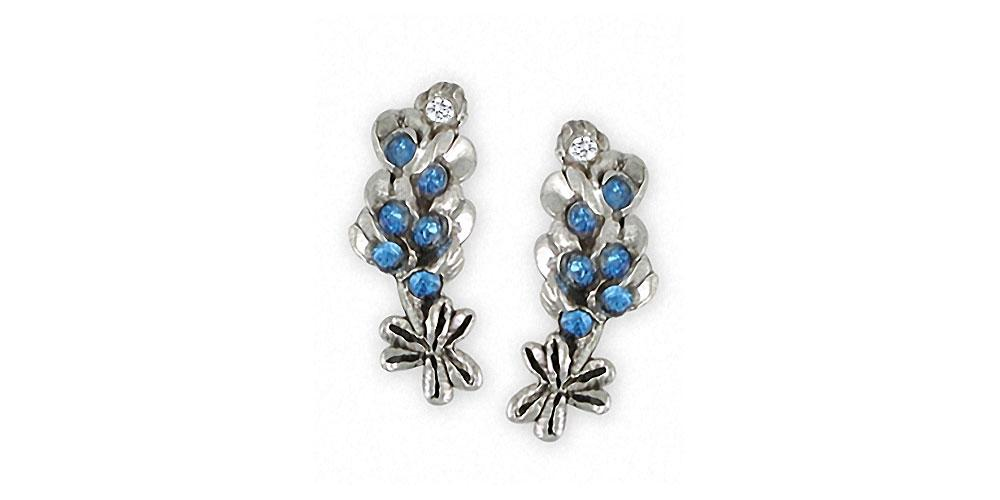 Bluebonnet Charms Bluebonnet Earrings Sterling Silver Texas Wildflower Jewelry Bluebonnet jewelry