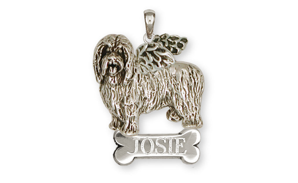 Bearded Collie Angel Charms Bearded Collie Angel Pendant Handmade Sterling Silver Dog Jewelry Bearded Collie Angel jewelry