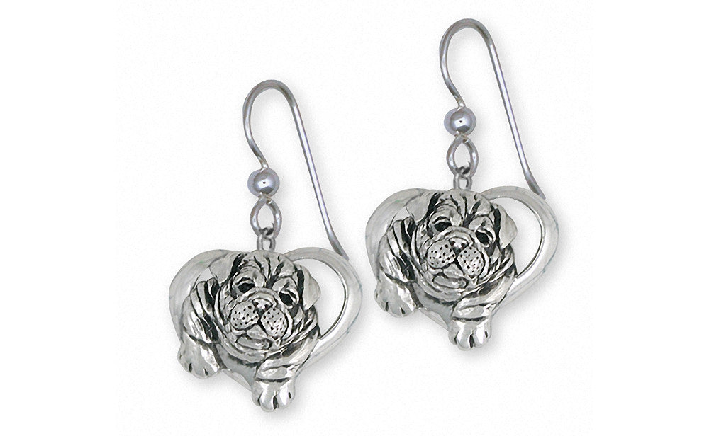 Bulldog Charms Bulldog Earrings Sterling Silver Dog Jewelry Bulldog jewelry