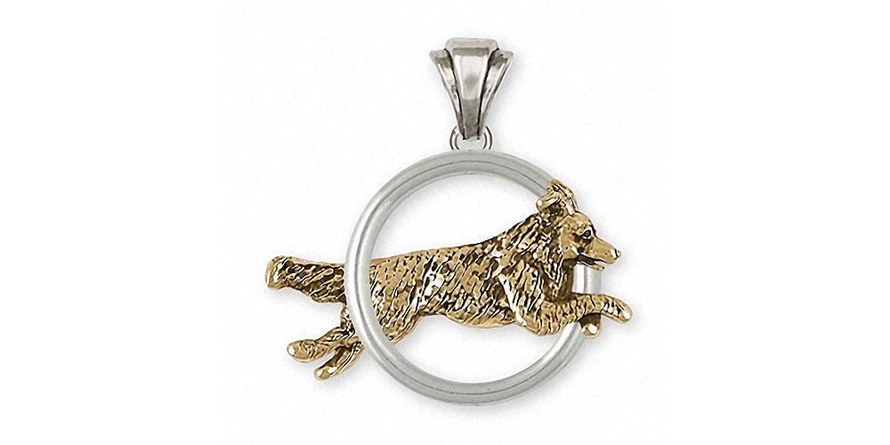 Border Collie Charms Border Collie Pendant Silver And 14k Gold Dog Jewelry Border Collie jewelry