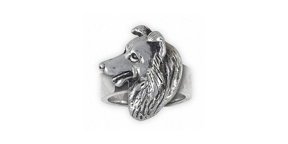Border Collie Charms Border Collie Ring Sterling Silver Dog Jewelry Border Collie jewelry