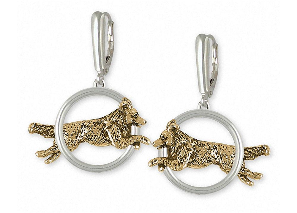 Border Collie Charms Border Collie Earrings Silver And 14k Gold Dog Jewelry Border Collie jewelry