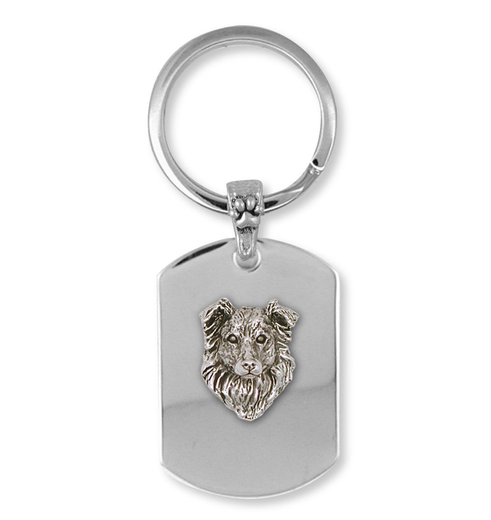 Border Collie Charms Border Collie Key Ring Sterling Silver Dog Jewelry Border Collie jewelry