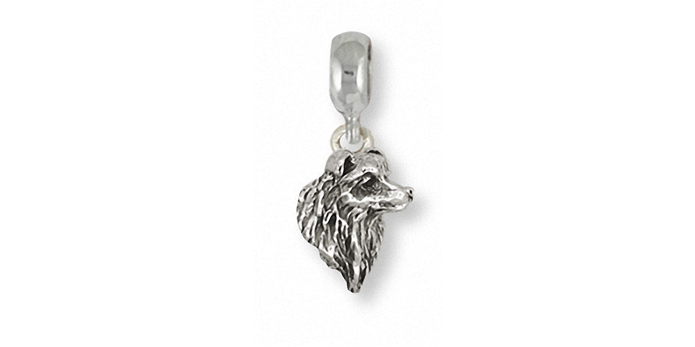 Border Collie Charms Border Collie Charm Slide Sterling Silver Dog Jewelry Border Collie jewelry