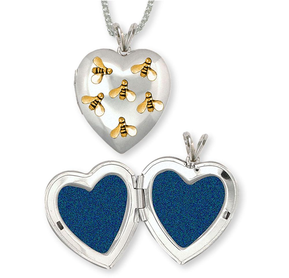 Honey Bee Charms Honey Bee Photo Locket Silver And 14k Gold Honeybee Jewelry Honey Bee jewelry