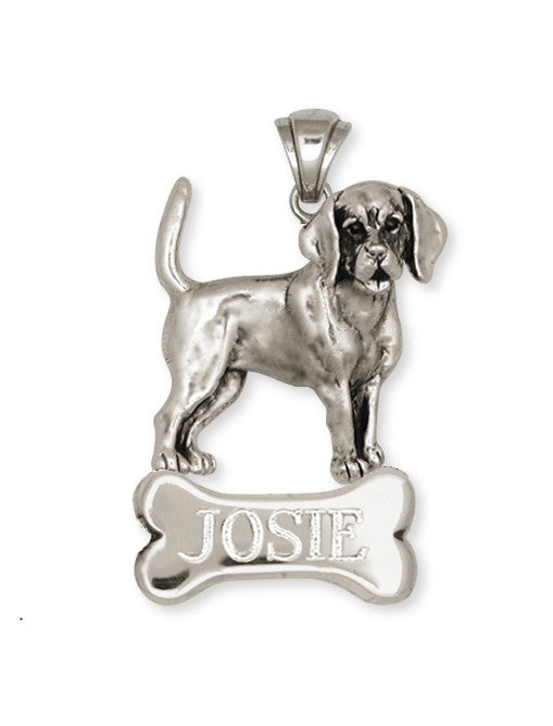 Beagle Dog Personalized Pendant Jewelry Handmade Sterling Silver  BG11-NP