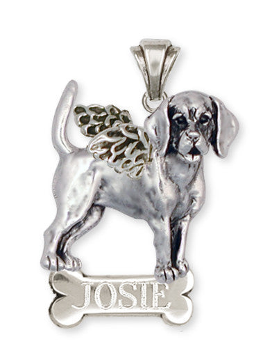 Beagle Angel Personalized Pendant Jewelry Handmade Sterling Silver  BG11A-NP