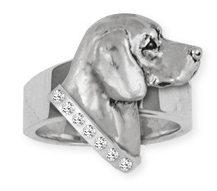 Beagle Dog Ring With Stone Collar Jewelry Handmade Sterling Silver  BG19-SR