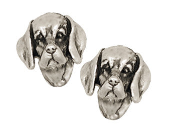 Beagle Dog Earrings Jewelry Handmade Sterling Silver  BG7-E