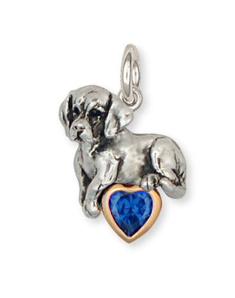 Beagle Dog Birthstone Charm Jewelry Sterling Silver And 14k Gold  BG8-TC