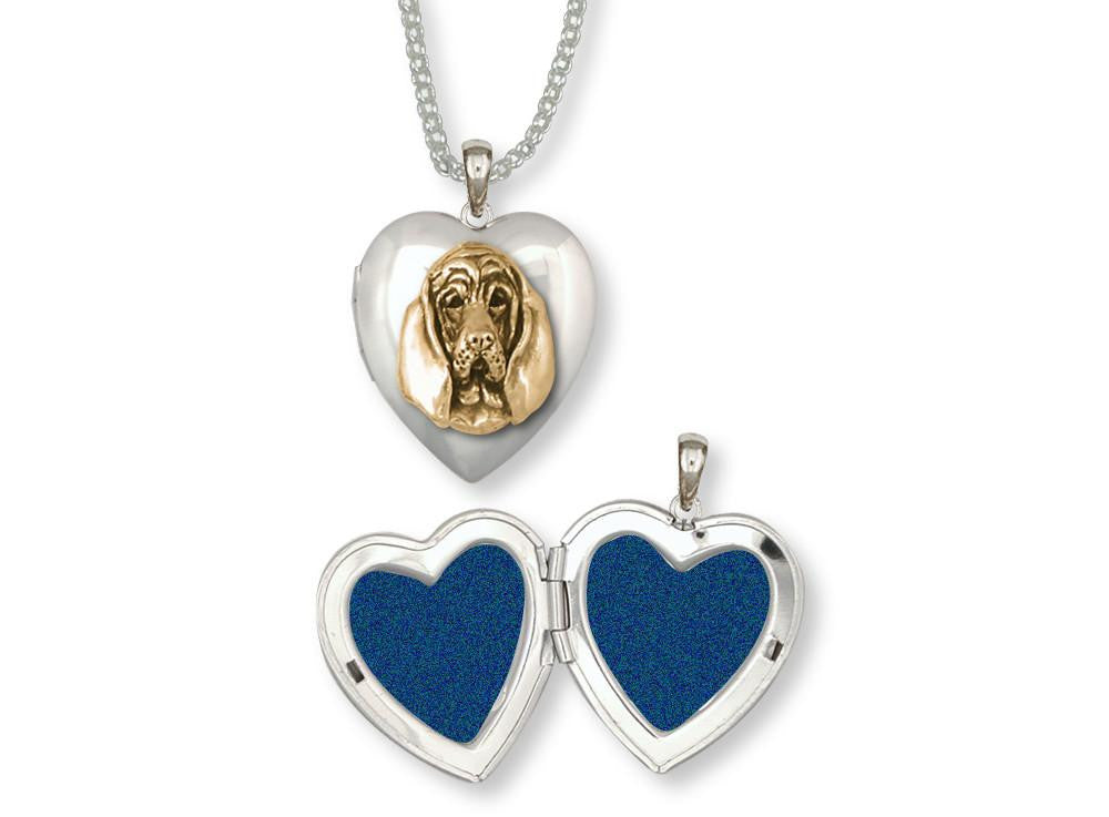 Bloodhound Charms Bloodhound Photo Locket Silver And Gold Dog Jewelry Bloodhound jewelry