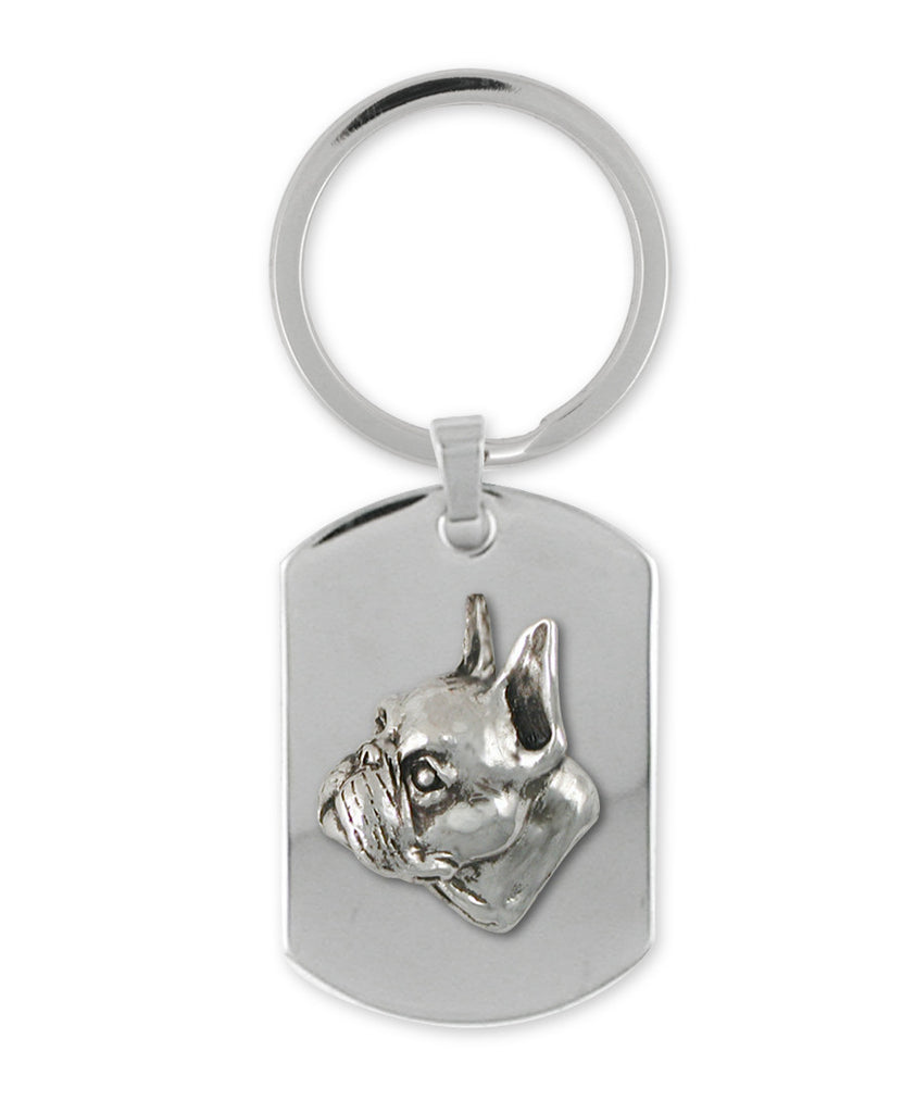 Boston Terrier Charms Boston Terrier Key Ring Sterling Silver Dog Jewelry Boston Terrier jewelry