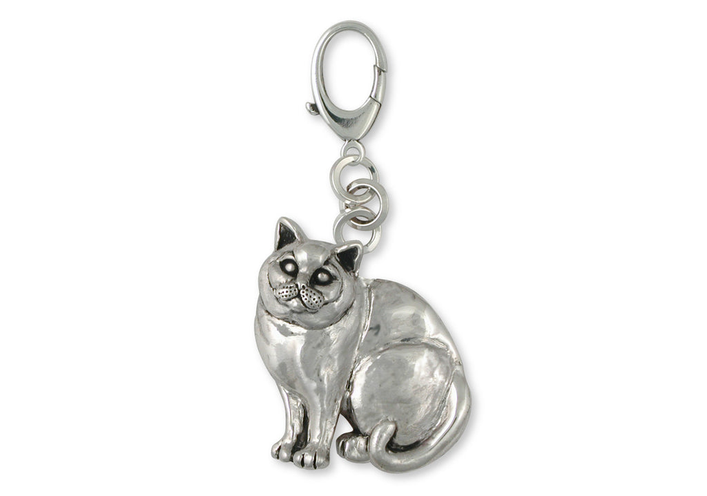 British Shorthair Charms British Shorthair Zipper Pull Sterling Silver Cat Jewelry British Shorthair jewelry