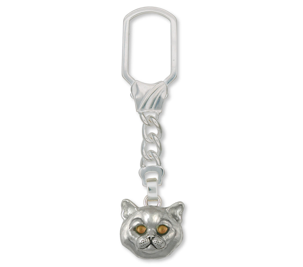 British Shorthair Charms British Shorthair Key Ring Sterling Silver Cat Jewelry British Shorthair jewelry