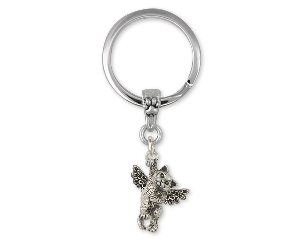 British Shorthair Angel Charms British Shorthair Angel Key Ring Sterling Silver Cat Jewelry British Shorthair Angel jewelry