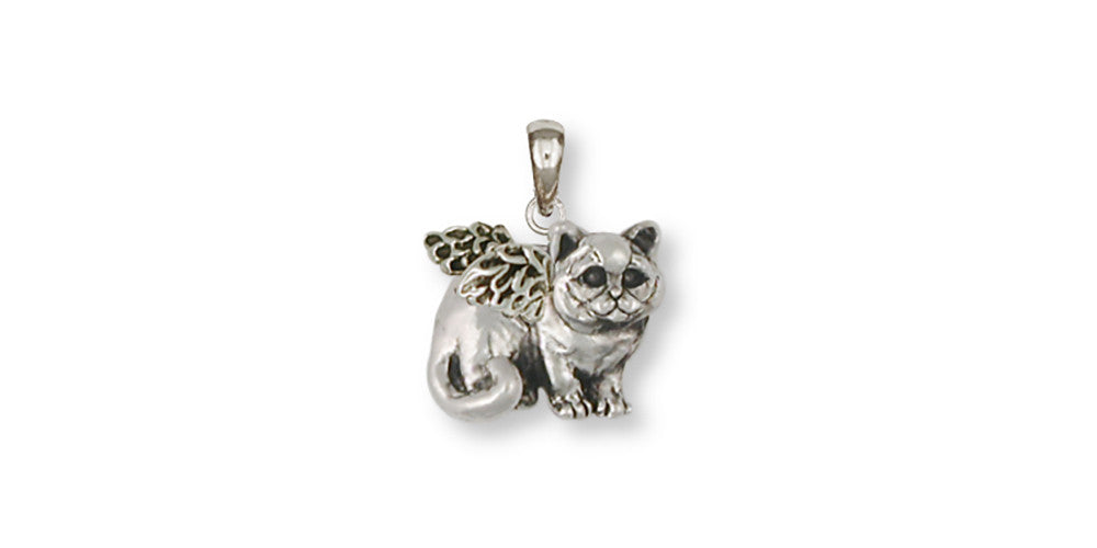 British Shorthair Angel Charms British Shorthair Angel Pendant Sterling Silver Cat Jewelry British Shorthair Angel jewelry