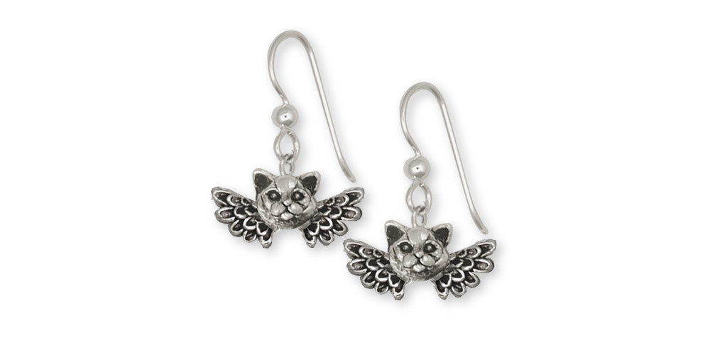 British Shorthair Angel Charms British Shorthair Angel Earrings Sterling Silver Cat Jewelry British Shorthair Angel jewelry
