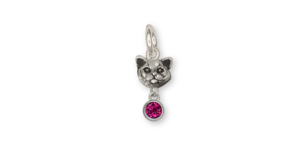 British Shorthair Birthstone Charms British Shorthair Birthstone Charm Sterling Silver Cat Jewelry British Shorthair Birthstone jewelry
