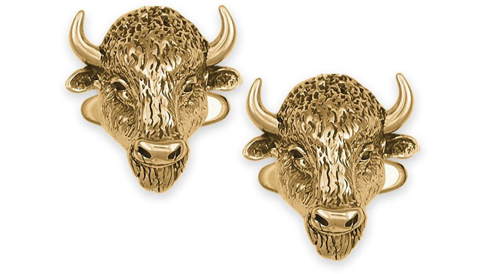 Buffalo Charms Buffalo Cufflinks 14k Gold Bison Jewelry Buffalo jewelry