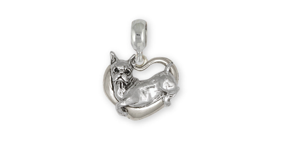Boxer Charms Boxer Charm Slide Sterling Silver Dog Jewelry Boxer jewelry