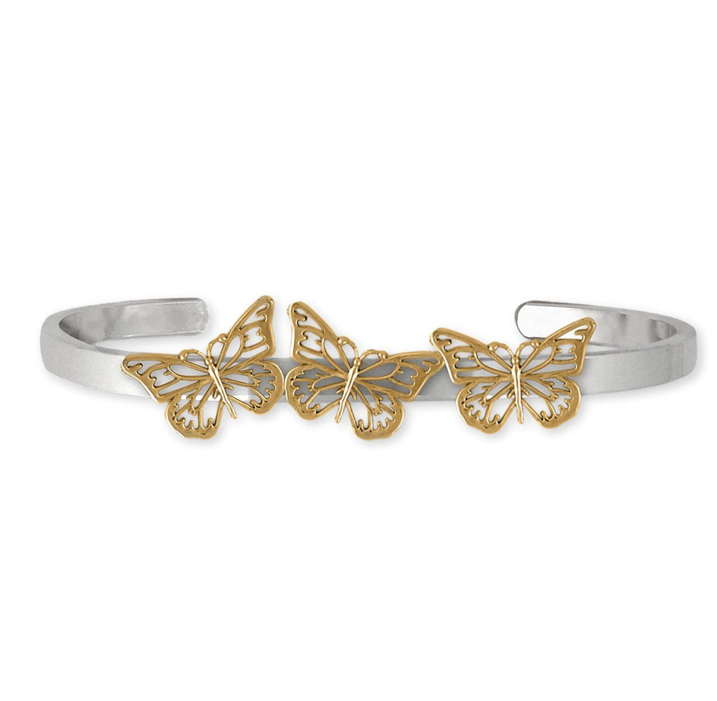 Butterfly Charms Butterfly Bracelet Silver And 14k Gold Butterfly Jewelry Butterfly jewelry