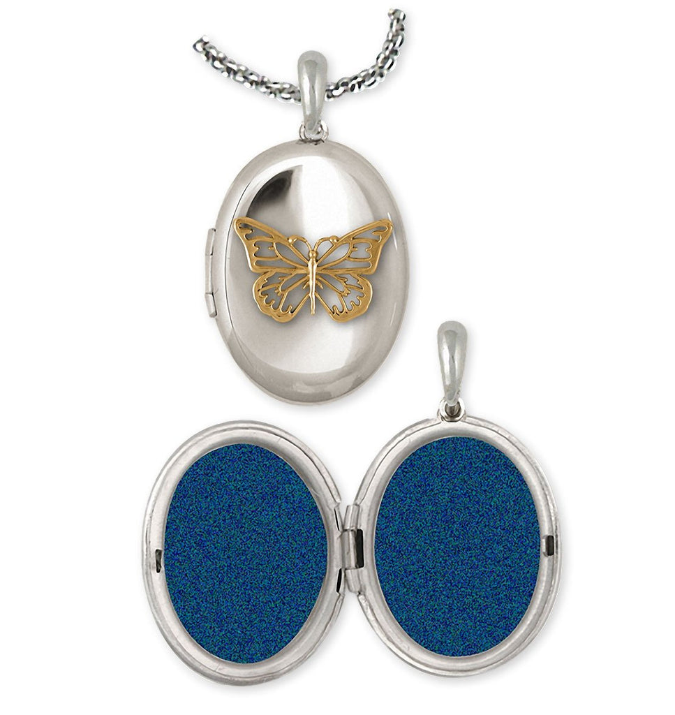 Butterfly Charms Butterfly Photo Locket Silver And 14k Gold Butterfly Jewelry Butterfly jewelry