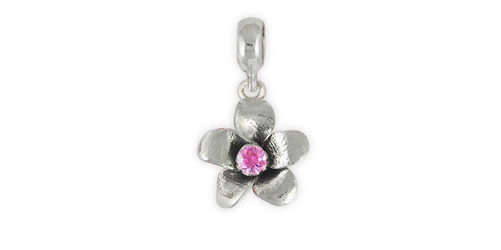 Cherry Blossom Charms Cherry Blossom Charm Slide Sterling Silver Flower Jewelry Cherry Blossom jewelry