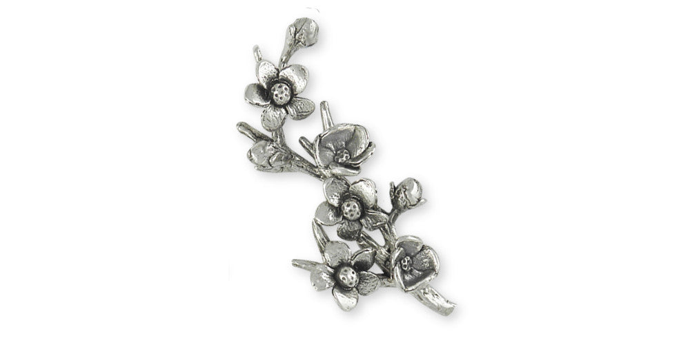 Cherry Blossom Charms Cherry Blossom Brooch Pin Sterling Silver Flower Jewelry Cherry Blossom jewelry