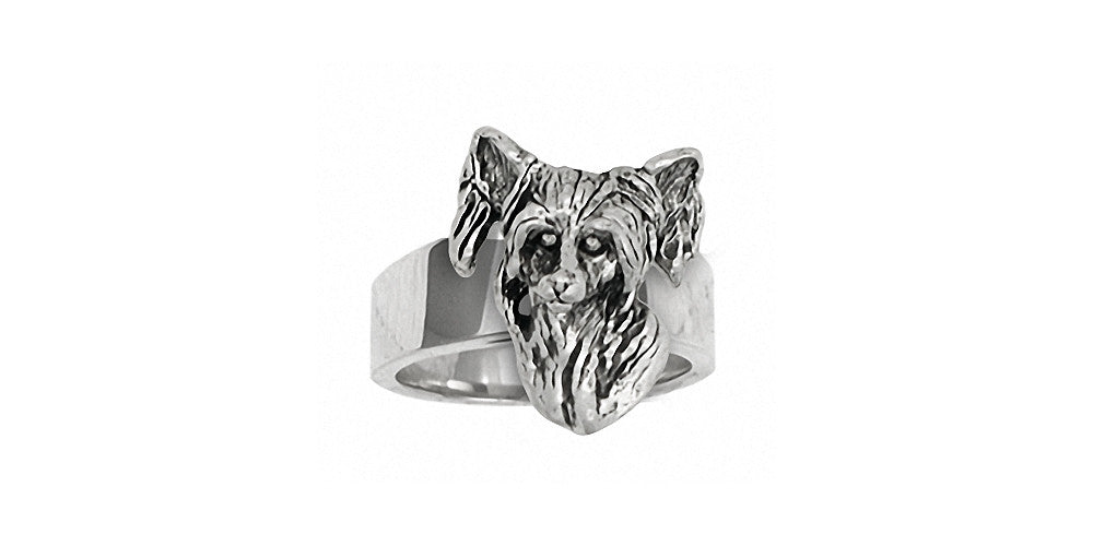 Chinese Crested Charms Chinese Crested Ring Sterling Silver Dog Jewelry Chinese Crested jewelry
