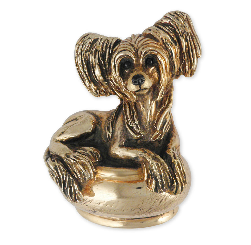 Chinese Crested Charms Chinese Crested Figurine Box Yellow Bronze Dog Jewelry Chinese Crested jewelry
