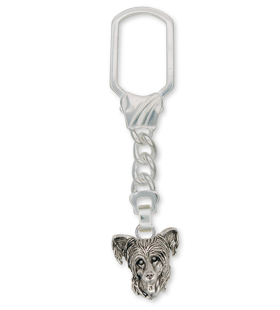 Chinese Crested Charms Chinese Crested Key Ring Sterling Silver Dog Jewelry Chinese Crested jewelry