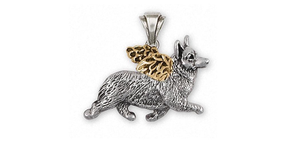 Corgi Charms Corgi Pendant Silver And Gold Dog Jewelry Corgi jewelry