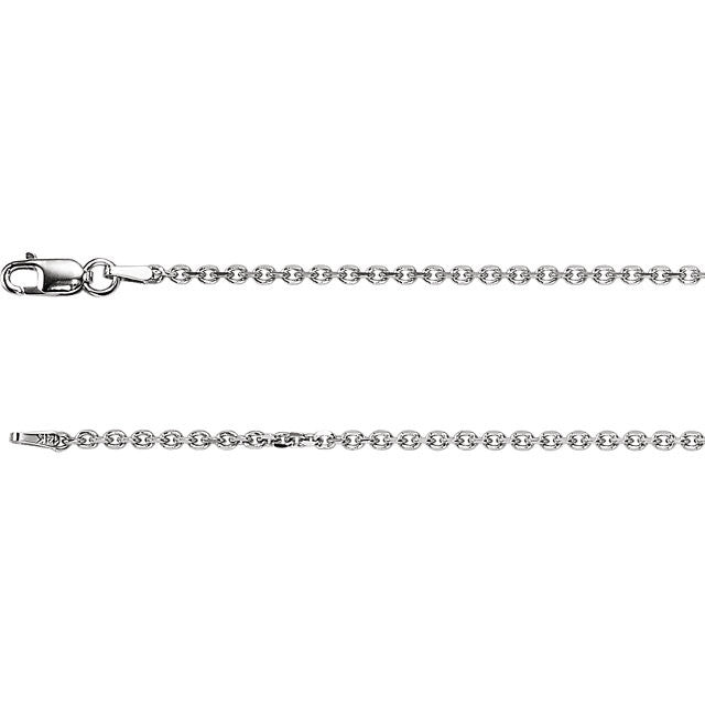 Diamond Cut Cable Chain, 18 Inches Long 1.75 Mm Ch125wg Charms Diamond Cut Cable Chain, 18 Inches Long 1.75 Mm Ch125wg  14k White Gold  Jewelry Diamond Cut Cable Chain, 18 inches Long 1.75 mm CH125WG jewelry