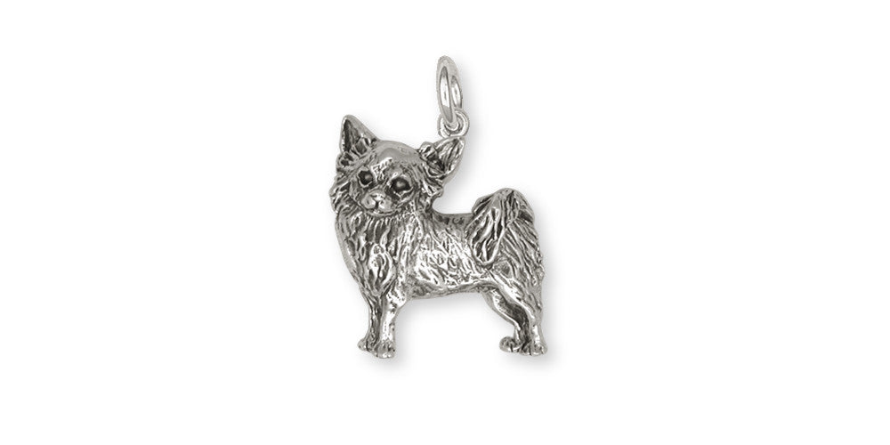 Long Hair Chihuahua Charms Long Hair Chihuahua Charm Sterling Silver Dog Jewelry Long Hair Chihuahua jewelry